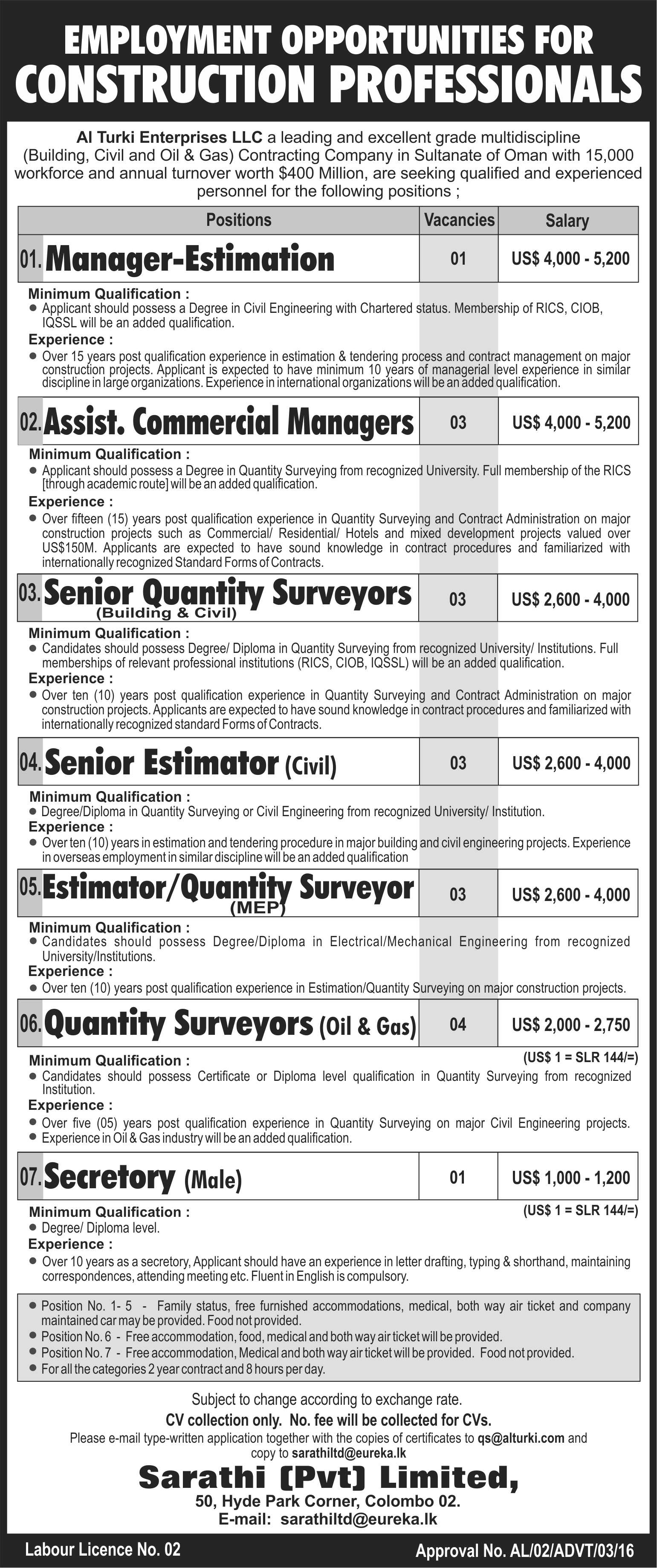 Al turki is seeking qualified and experienced Construction